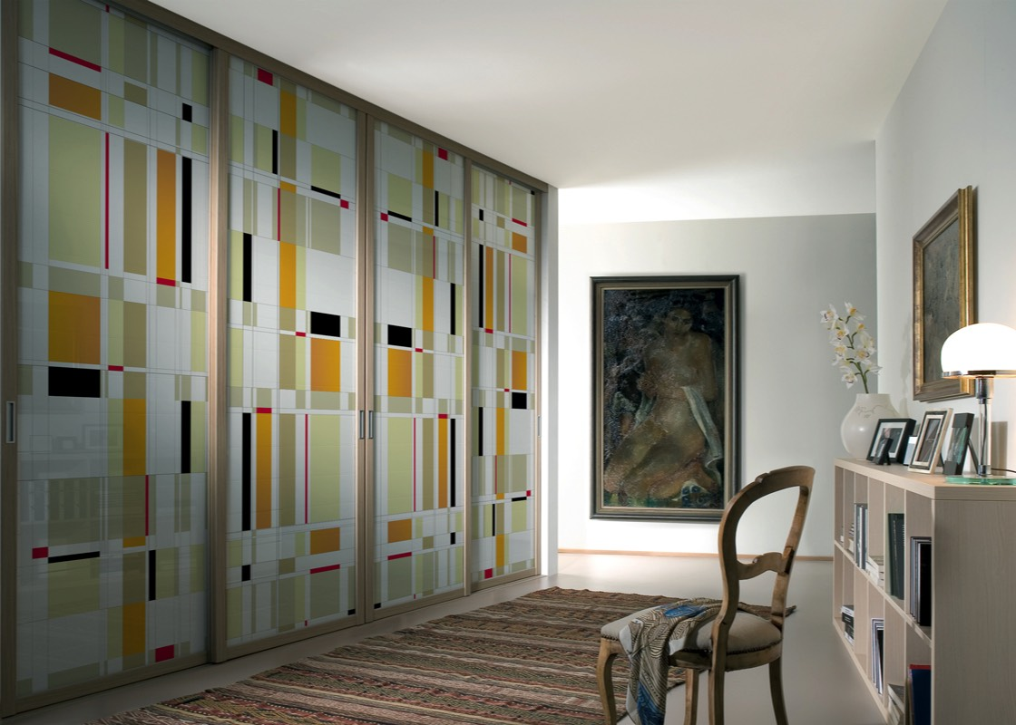 Decorative laminated art glass sliding doors