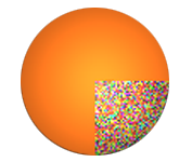 Orange ball with digital insides